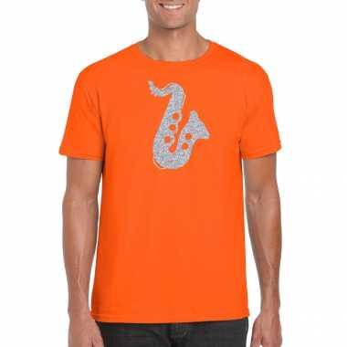 Zilveren saxofoon / muziek t shirt / carnavalskleding oranje heren arnhem