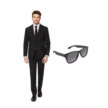 Zwart heren carnavalskleding maat (l) gratis zonnebril arnhem