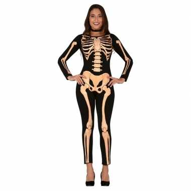Zwart/oranje skelet verkleed carnavalskleding dames arnhem
