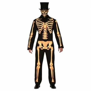 Zwart/oranje skelet verkleed carnavalskleding heren arnhem