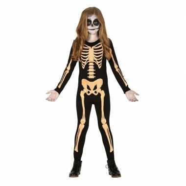 Zwart/oranje skelet verkleedcarnavalskleding kinderen carnavalskledi