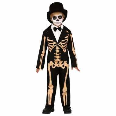 Zwart/oranje skelet verkleedcarnavalskleding kinderen skelettencarna