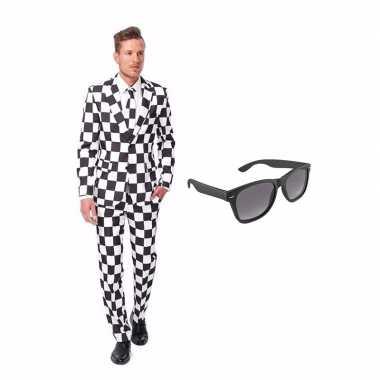 Zwart/wit geblokt heren carnavalskleding maat (l) gratis zonnebril a