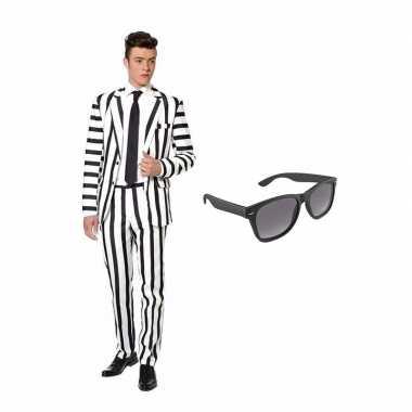 Zwart/wit gestreept carnavalskleding maat (xl) gratis zonnebril arnh