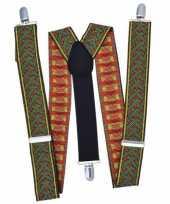 Carnavalskleding bretels rood groen kruispatroon arnhem