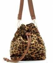 Carnavalskleding bruin zwart luipaardprint schoudertasje bucket bag arnhem