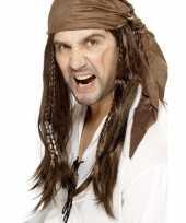 Carnavalskleding bruine piratenpruik bandana heren arnhem