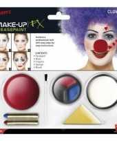 Carnavalskleding clown schmink set inclusief clownsneus arnhem