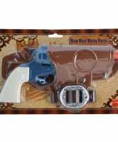 Carnavalskleding cowboy revolver blauw holster arnhem