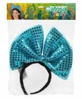 Carnavalskleding diadeem grote blauwe strik pailletten dames arnhem