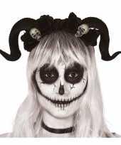 Carnavalskleding diadeem tiara zwarte hoorns doodshoofden arnhem