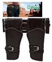 Carnavalskleding dubbele cowboy holster donkerbruin brede riem verkleed acces arnhem