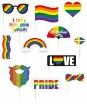 Carnavalskleding foto prop set regenboog rainbow pride vlag stokjes arnhem