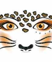 Carnavalskleding gezicht stickers luipaard vel arnhem