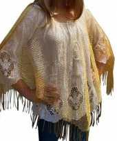 Carnavalskleding gouden visnet poncho omslagdoek stola dames arnhem