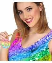 Carnavalskleding grote gekleurde hippie ketting vredesteken arnhem
