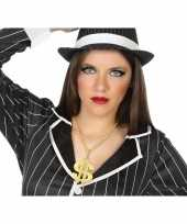 Carnavalskleding grote gouden dollar ketting verkleed accessoire volwassenen arnhem