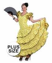 Carnavalskleding grote maat spaanse flamencojurk geel zwarte stippen arnhem