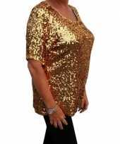 Carnavalskleding grote maten gouden glitter pailletten disco shirt dames xl arnhem