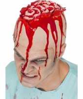 Carnavalskleding halloween latex hoofdkap openliggende hersenpan arnhem