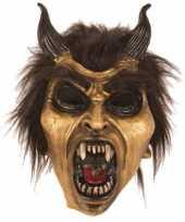 Carnavalskleding halloween latex horror masker duivel goud arnhem
