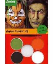 Carnavalskleding halloween schminkset oranje groen bruin wit arnhem