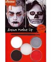 Carnavalskleding halloween schminkset rood zwart grijs wit arnhem