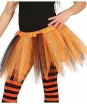 Carnavalskleding heksen verkleed petticoat tutu oranje zwart glitters meisje arnhem