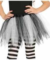 Carnavalskleding heksen verkleed petticoat tutu zwart wit glitters meisjes arnhem