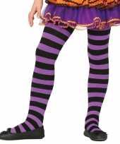 Carnavalskleding heksen verkleedaccessoires panty maillot zwart paars meisje arnhem