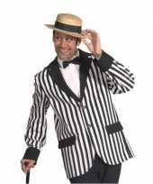 Carnavalskleding heren colbert zwart wit gestreept arnhem