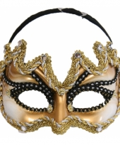 Carnavalskleding heren oogmasker goud zwart arnhem