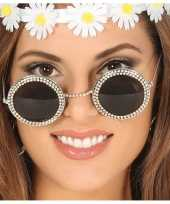 Carnavalskleding hippie flower power verkleed zonnebril ronde glazen arnhem