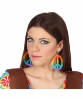 Carnavalskleding hippie oorbellen gekleurd arnhem