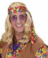 Carnavalskleding hippie pruik lang blond haar arnhem