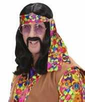 Carnavalskleding hippie pruik lang zwart haar arnhem