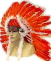 Carnavalskleding indianen hoofdtooi rood oranje arnhem