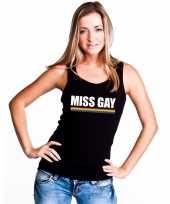 Carnavalskleding lgbt singlet-shirt tanktop zwart miss gay dames arnhem