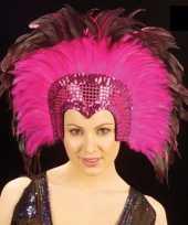 Carnavalskleding luxe hoofdtooi roze arnhem