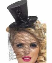 Carnavalskleding mini zwarte hoge hoed diadeem arnhem