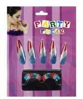 Carnavalskleding nagel wimper set rood wit blauw arnhem