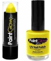 Carnavalskleding neon gele uv lippenstift lipstick nagellak schmink set arnhem