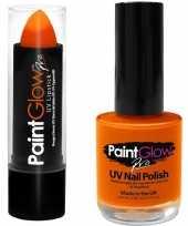 Carnavalskleding neon oranje uv lippenstift lipstick nagellak schmink set arnhem