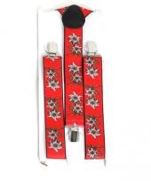 Carnavalskleding oktoberfest rode bretels edelweiss bloem arnhem