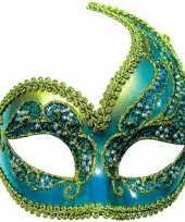 Carnavalskleding oogmasker blauw goud arnhem