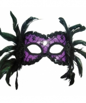 Carnavalskleding oogmasker paars veren arnhem