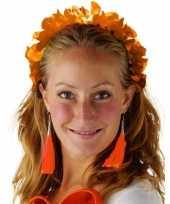 Carnavalskleding oranje hawaiikrans verkleed tiara hoofdband dames arnhem