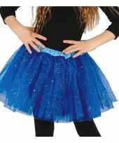 Carnavalskleding petticoat tutu verkleed rokje kobalt blauw glitters meisje arnhem