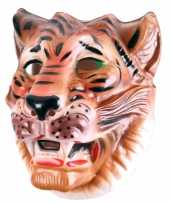 Carnavalskleding plastic bruine tijger masker volwassenen arnhem