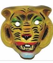 Carnavalskleding plastic gele tijger masker volwassenen arnhem